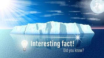 Interesting fact iceberg seascape vector