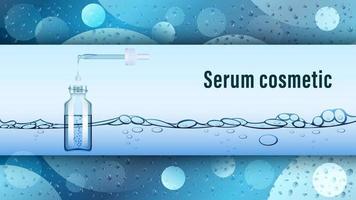 Serum cosmetic vial on water background vector