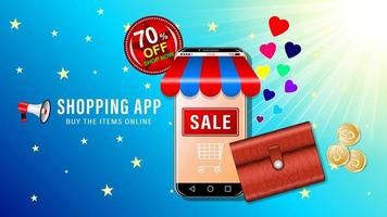 Online Shopping purse and smartphone cartoon vector