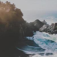 Square background of beach scene photo