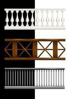 Set railing isolated cartoon style vector