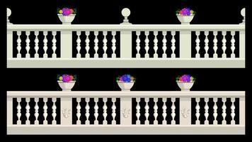 Stone railing isolated cartoon style vector