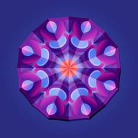 This is a violet geometric polygonal mandala with a floral pattern vector