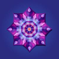 This is a violet geometric polygonal mandala with a crystal pattern vector