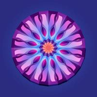 This is a violet geometric polygonal mandala with a floral pattern and petals vector