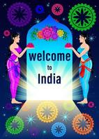 Welcome to India Womans in traditional clothes cartoon vector