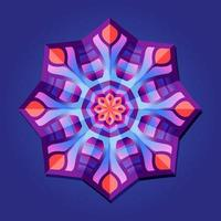 This is violet a geometric polygonal mandala in the form of a snowflake vector