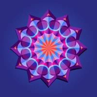 This is violet a geometric polygonal mandala in the form of a star with a floral pattern vector