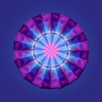 This is a violet geometric polygonal mandala with an illusion of volume pattern vector
