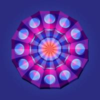 This is a violet geometric polygonal mandala with an oriental fan pattern vector