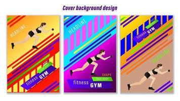 Set Cover Woman Fitness Gym geometric shapes background vector