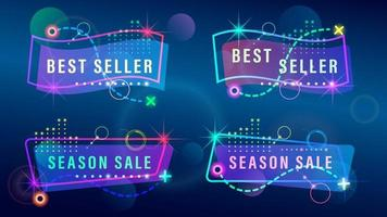Set Sale sign colorful light effects vector