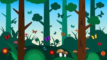 Forest scenery cartoon background vector