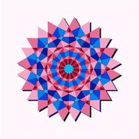 This is a pink geometric polygonal mandala in the form of a flower with a blue center vector