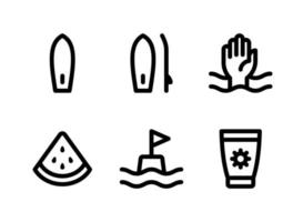Simple Set of Surf Related Vector Line Icons