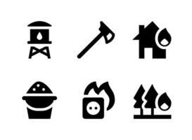 conjunto simple de iconos sólidos vectoriales relacionados con bombero vector