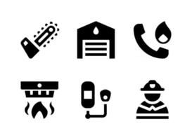 Simple Set of Firefighter Related Vector Solid Icons