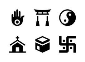 Conjunto simple de iconos de líneas vectoriales relacionadas con la religión vector