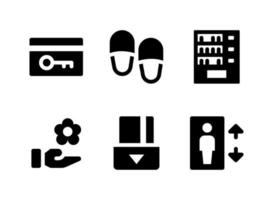 Simple Set of Hotel Service Related Vector Solid Icons
