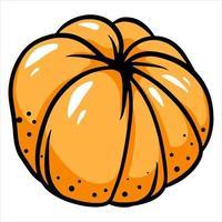 Mandarin without peel Citrus fruits Vitamin C Cartoon style vector