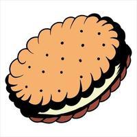 Filled cookie biscuit vector