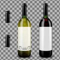 Red and white wine bottles Vector illustration