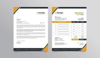 Creative business letterhead and invoice template vector