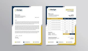 Modern business stationery collection letterhead and invoice template design vector