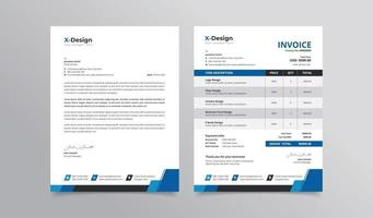 Professional corporate business stationery pack letterhead and invoice vector