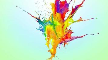 Rainbow Liquid Explosion Over a Blue Gradient video