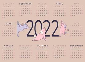 Calendar 2022 Horizontal template for a year with funny dogs vector