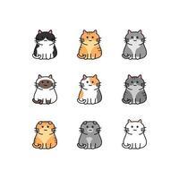 Cute cat cartoon collection vector