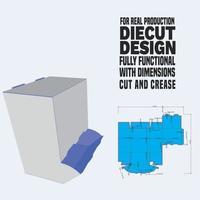 caja dispensadora embalaje troquelado dieline. ajuste a escala y completamente funcional. preparado para la producción de cartón real vector