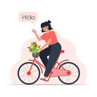Una mujer joven monta una bicicleta con un ramo de flores en una canasta. vector