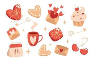 Valentines day set of elements in flat style vector