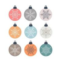 Set of Christmas scandinavian decorations glass ball with snowflakes vector