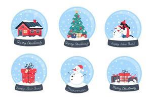 Collection Christmas snow globes vector