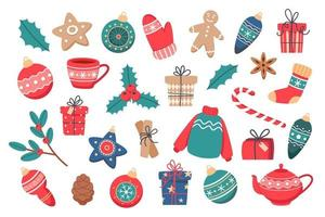 Christmas set of cute elements vector illustration in flat style