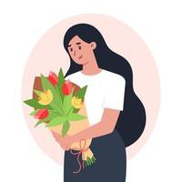 mujer joven sosteniendo un ramo de flores enhorabuena para las mujeres vector