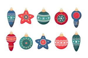 Set of Christmas decorations glass ball vector