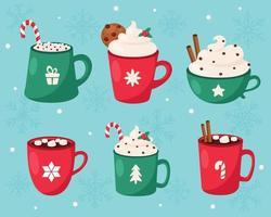 Feliz Navidad. colección de bebidas calientes de navidad. ilustración vectorial. vector