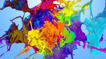 3d Rainbow Liquid Paint Splash and Explosion video