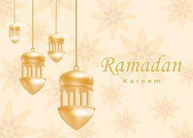 EID Ramadan sale gold background with lanterns vector