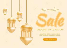 EID Ramadan sale gold background vector