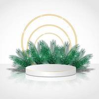 Podio de cilindro de lujo en fondo blanco con hojas y círculo dorado vector