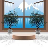 3d vector podium background with bonsai tree in the room