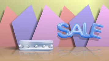 Sale poster in 3d pastel illustration vector