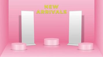 Showing product background in pink color with standing banners and podiums vector