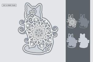 Cat Mandala Layered 3D Vector