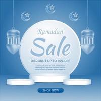 EID Ramadan sale blue background vector